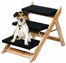 2 in 1 Wooden Pet Cat Kitty Dog Folding Step Stool Ramp Portable Ladder Playing