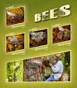 Sierra Leone Bees Stamps 2017 MNH Honey Bee Insects Fauna 4v M/S