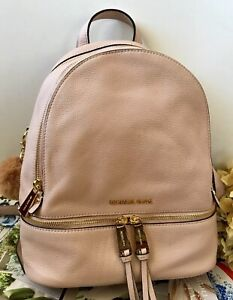 MICHAEL MICHAEL KORS BABY PINK LARGE RHEA BACKPACK HANDBAG EUC