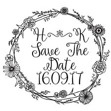 Personalised Laser Rubber Stamp - Save the Date: Flower Border