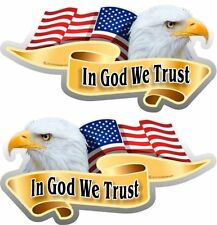 """ProSticker 906M Mirrored pair 3""""x 6"""" American Flag Eagle In God We Trust Decal"""