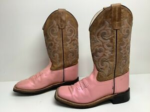 VTG GIRLS OLD WEST SQUARE TOE COWBOY IRIDESCENT PINK BOOTS SIZE 3.5