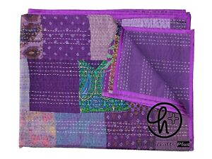 Indian Kantha Quilt Handmade Silk Patola Coverlet All Color Gudari Boho Blankets