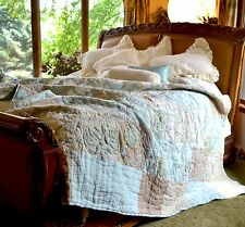 SOFT SURROUNDINGS HAMPSHIRE EMBROIDERED PATCHWORK QUILT KING Orig $289
