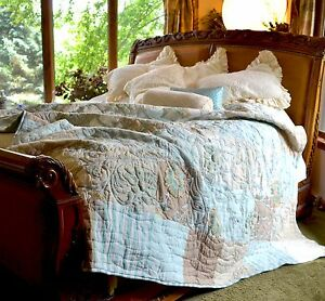 SOFT SURROUNDINGS HAMPSHIRE EMBROIDERED PATCHWORK LAKE QUILT QUEEN
