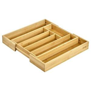 Bamboo Expandable Kitchen Cutlery Tray Holder Tidy Organiser 38cm
