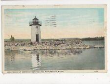 Lighthouse At Cobbosseecontee Lake Manchester Maine 1938 Postcard USA 403a ^
