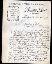 """MOULINS (03) VITRERIE MIROITERIE """"BOUILLE Ainé"""" en 1919"""