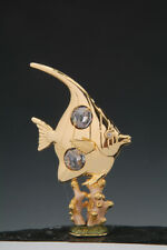 Angel Fish on Coral FREE STANDING 24K GOLD PLATED WITH AUSTRIAN CRYSTALS
