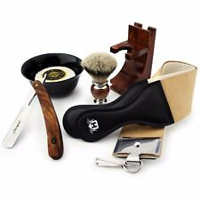 Rose Wood Men Shaving Set Silver Tip Badger Brush & Half Blade Cut Throat Razor