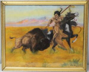Navajo artist S.A. Begay - Pastel Original Art The Hunt Bison Warrior Native