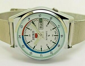 seiko 5 automatic men's railway time day/date vintage 6309 japan watch run order