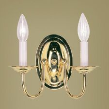NEW 2 Light Colonial Candle Wall Sconce Lighting Fixture, Polished Brass, Livex