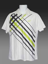NOUVEAU Nike Tennis DriFit Polo blanc avec gris diagonales M