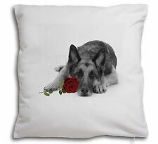 German Shepherd with Red Rose Soft Velvet Feel Cushion Cover With , AD-GS1R2-CPW