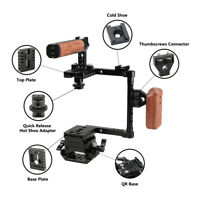 CAMVATE DSLR Camera Cage Wood Handle Grip Baseplate KIT for Canon Nikon Sony GH5