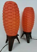 (2) Vintage Mid Century Modern Beehive Basket Weave Orange Atomic Rocket Lamps