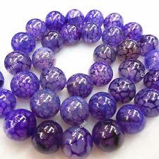 Natural Purple Dragon Veins Agate Onyx Gemstone Round Loose Beads 15'' Strand
