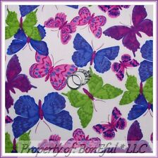 BonEful FABRIC FQ Cotton White Pink Blue Purple Green Lg Butterfly Breast Cancer