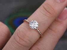 Solid 14K Rose Gold Diamond Engagement Ring 1.00 Ct Stylish Rings Size K L M N