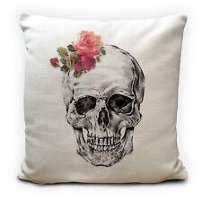 """Gothic Skull Roses Cushion Cover - Skeleton Illustration Home Decor Gift 16"""""""