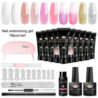 MEET ACROSS Poly Extension Gel Kits w/ 6W USB Lamp French Nail Tips Manicure DIY