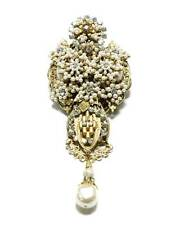 Stanley Hagler Large Faux Pearl Brooch Tiny Seed Pearls Clear Crystals Gold Tone
