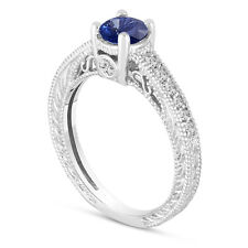 Platinum Sapphire Engagement Ring With Diamonds Wedding Ring Vintage Style