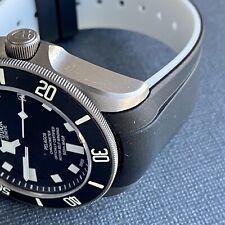 22mm BLACK/WHITE Vulcanized Curved rubber Strap 41mm TUDOR Pelagos Watch Band