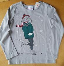 NWT Hanna Andersson L/S Clay Gray Mixed Media Ice Skater Art Tee Shirt 110 4 5 6
