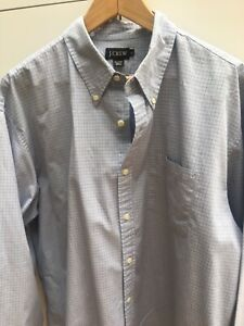 J. Crew Men's Blue Check Cotton Casual Shirt XL / X Large - SENT SAME DAY