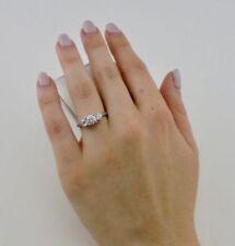 Diamond Three-Stone Natural White Gold Fine Rings