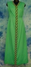 ELEGANT ViNTAGE 60s 70s ReTrO GLaM TEAL BEADED JEWELED MAXi DRESS EVENiNG GOWN M