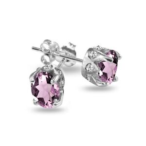 Oval Crown Simulated Alexandrite & White Topaz Stud Earrings in Sterling Silver
