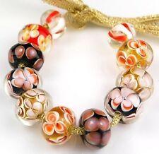 11pcs Lampwork Glass Beads Handmade Black Amber Brown Flower Spacer Rondelle