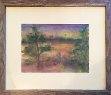 """Framed Central Coast Watercolor by John Seed: """"Pines and Sunrise, Cambria"""""""