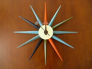 Mid-century Modern Furniture Sun Clock Retro MultiColoured Star Wall Clock