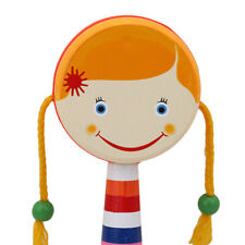 Cute Wooden Hand Bell Shaking Rattle Drum Baby Kid Musical Instrument JD
