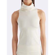 RALPH LAUREN 100% Merino Wool Creme Sleeveless Turtleneck In Natural XS