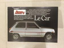 Renault 5 Le Car Limited Edition 1979 UK Market Foldout Sales Brochure