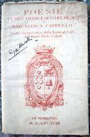 1894 POESIE DI DON FRANCESCO DE' MEDICI A BIANCA CAPPELLO DAL CODICE GALLETTI