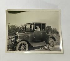 Woman Bandanna Hat Driving old Antique Car Black & White Photo Trees Road Grass