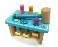 Kids Children Multi Coloured Wooden Activity Hammer and Pegs Pound a Peg Toy NEW