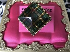 Betsey Johnson Vintage Green Plaid Lucite Block Pyramid Spike Gold Ring NOS RARE