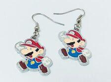 Super mario cute bros cute nintendo videogame jewelry red blue cartoon earrings
