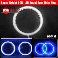 US 2X 100mm Ultra Blue 117 COB LED 12-24V Angel Eyes Halo Ring Fog Housing Lamp