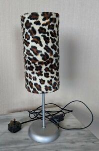 "Leopard Print Shade Table Lamp/Light, Plush, Kitsch Bedside Lamp **VGC** 16.5"""