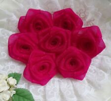 "1.5"" Shocking Pink Organza Ribbon Roses Flowers Appliques -Lots 24 Pcs(R0084S)"