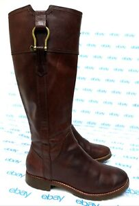 """Sperry women's size 7 M brown leather side zip boots 16"""" tall non marking"""