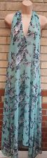 FLORENCE & FRED MINT GREEN HALTERNECK FLORAL SEE THROUGH MAXI LONG DRESS S M